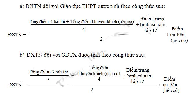 Công thức xét điểm THPT 2018